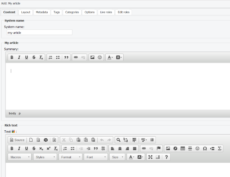 Content editing UIs