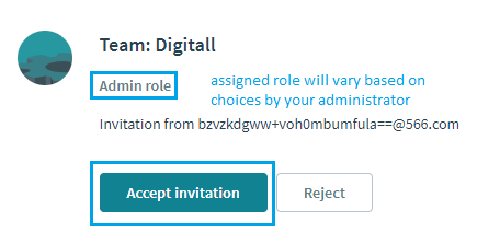 Accept Invitation shows team and role